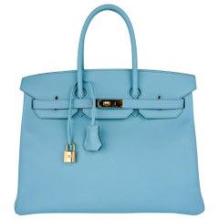 Hermes Birkin 35 Bag Blue Atoll Gold Hardware Epsom Leather