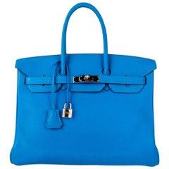 Hermes Birkin 35 Bag Blue Hydra Togo Palladium Hardware