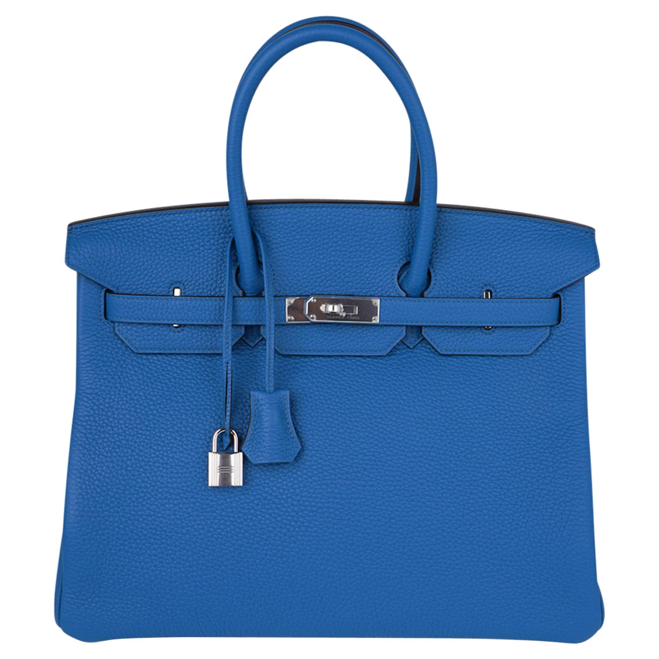 Hermes Birkin 35 Bag Blue Izmir Clemence Palladium Hardware