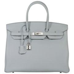 Hermes Birkin 35 Bag Blue Pale Togo Palladium Hardware