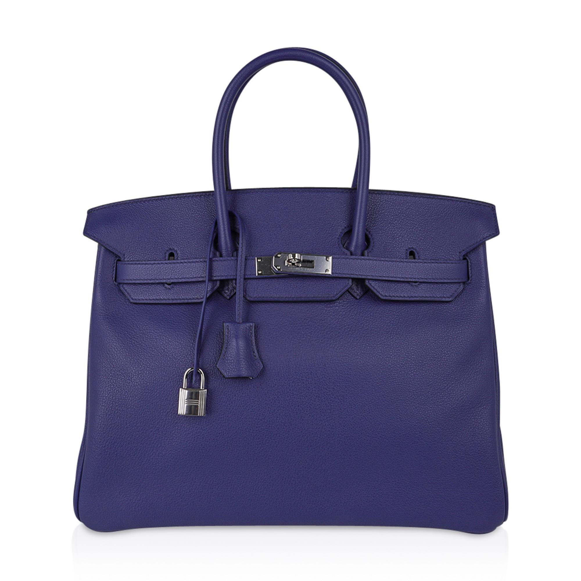 Hermes Birkin 35 Bag Blue Sapphire Limited Edition Toile Printed Sea Surf
