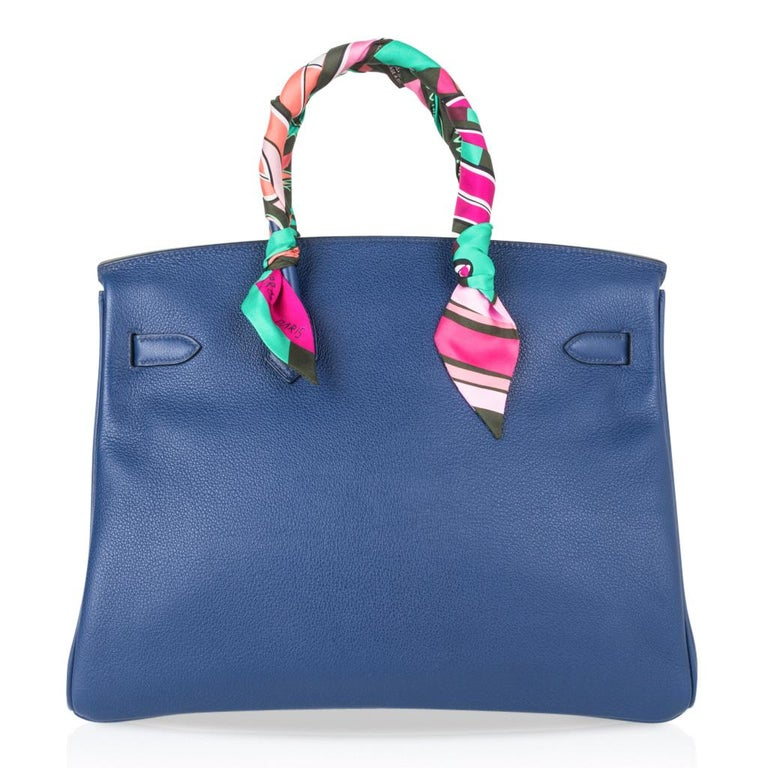 Hermes Birkin 35 Bag Blue Sapphire Ltd Ed w/ Toile Printed Sea Surf Fun Interior For Sale 7