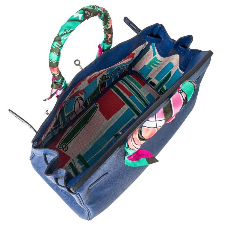 Hermes Birkin 35 Bag Blue Sapphire Ltd Ed w/ Toile Printed Sea Surf Fun Interior For Sale 6
