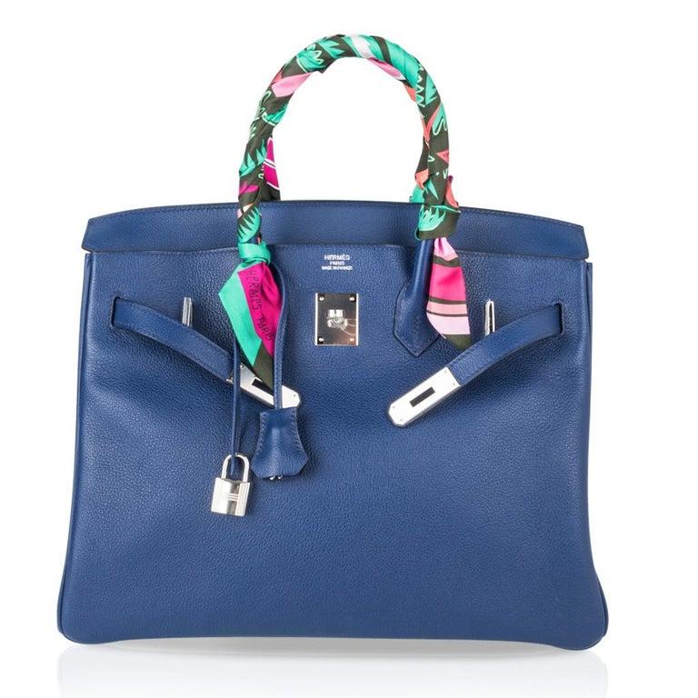 Hermes Birkin 35 Bag Blue Sapphire Ltd Ed w/ Toile Printed Sea Surf Fun Interior For Sale 5