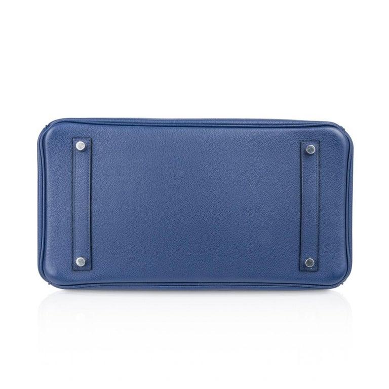 Hermes Birkin 35 Bag Blue Sapphire Ltd Ed w/ Toile Printed Sea Surf Fun Interior For Sale 8
