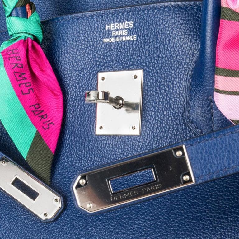 570439c7e1 Women's Hermes Birkin 35 Bag Blue Sapphire Ltd Ed w/ Toile Printed Sea Surf  Fun