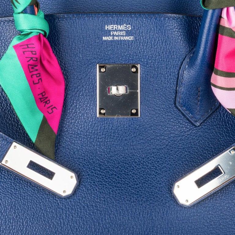 8ecf2bde8b Hermes Birkin 35 Bag Blue Sapphire Ltd Ed w/ Toile Printed Sea Surf Fun  Interior