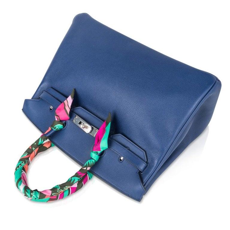 Hermes Birkin 35 Bag Blue Sapphire Ltd Ed w/ Toile Printed Sea Surf Fun Interior For Sale 3
