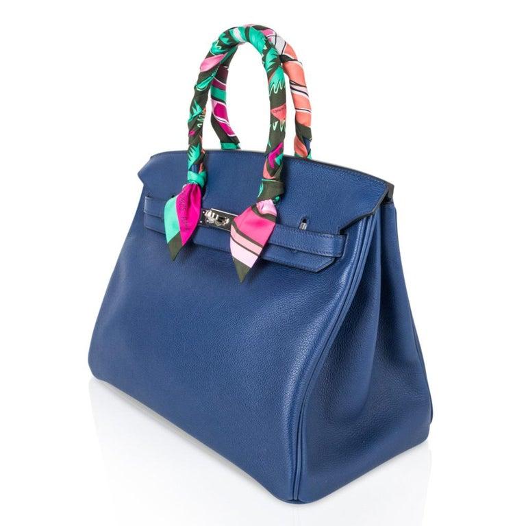 Hermes Birkin 35 Bag Blue Sapphire Ltd Ed w/ Toile Printed Sea Surf Fun Interior For Sale 4