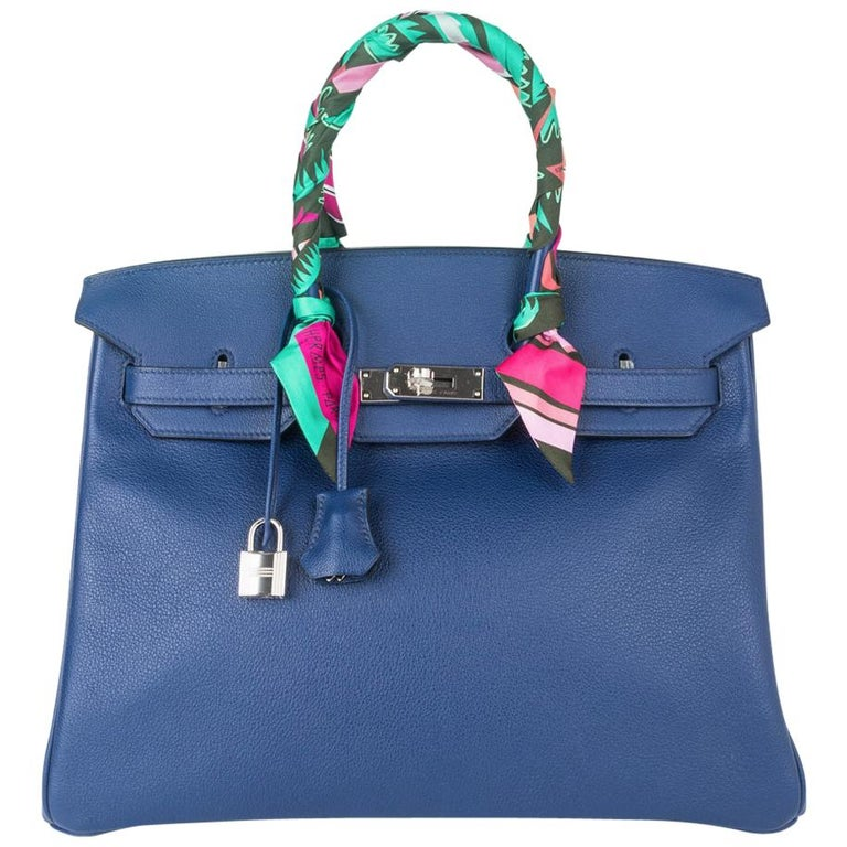 Hermes Birkin 35 Bag Blue Sapphire Ltd Ed w/ Toile Printed Sea Surf Fun Interior For Sale