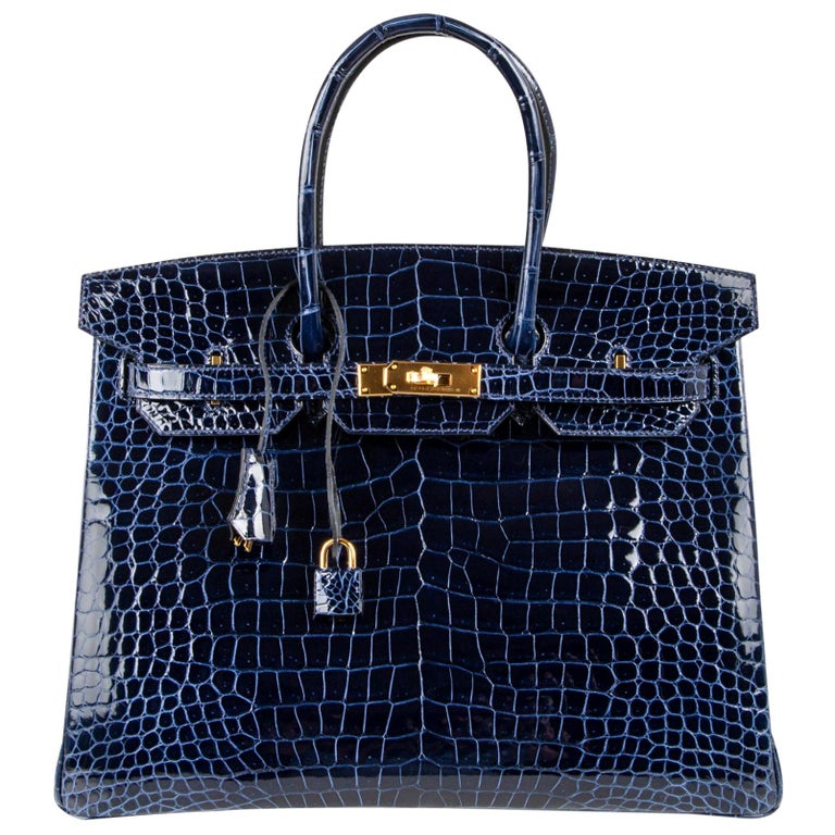 Hermes Birkin 35 Bag Blue Sapphire Porosus Crocodile Gold Hardware For Sale