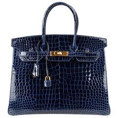 Hermes Birkin 35 Bag Blue Sapphire Porosus Crocodile Gold Hardware