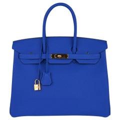 Hermes Birkin 35 Bag Blue Zellige Gold Hardware Togo Leather