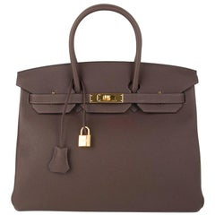 Hermes Birkin 35 Bag Chocolate Togo Gold Hardware