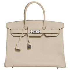 Hermes Birkin 35 Bag Craie Epsom Palladium Hardware