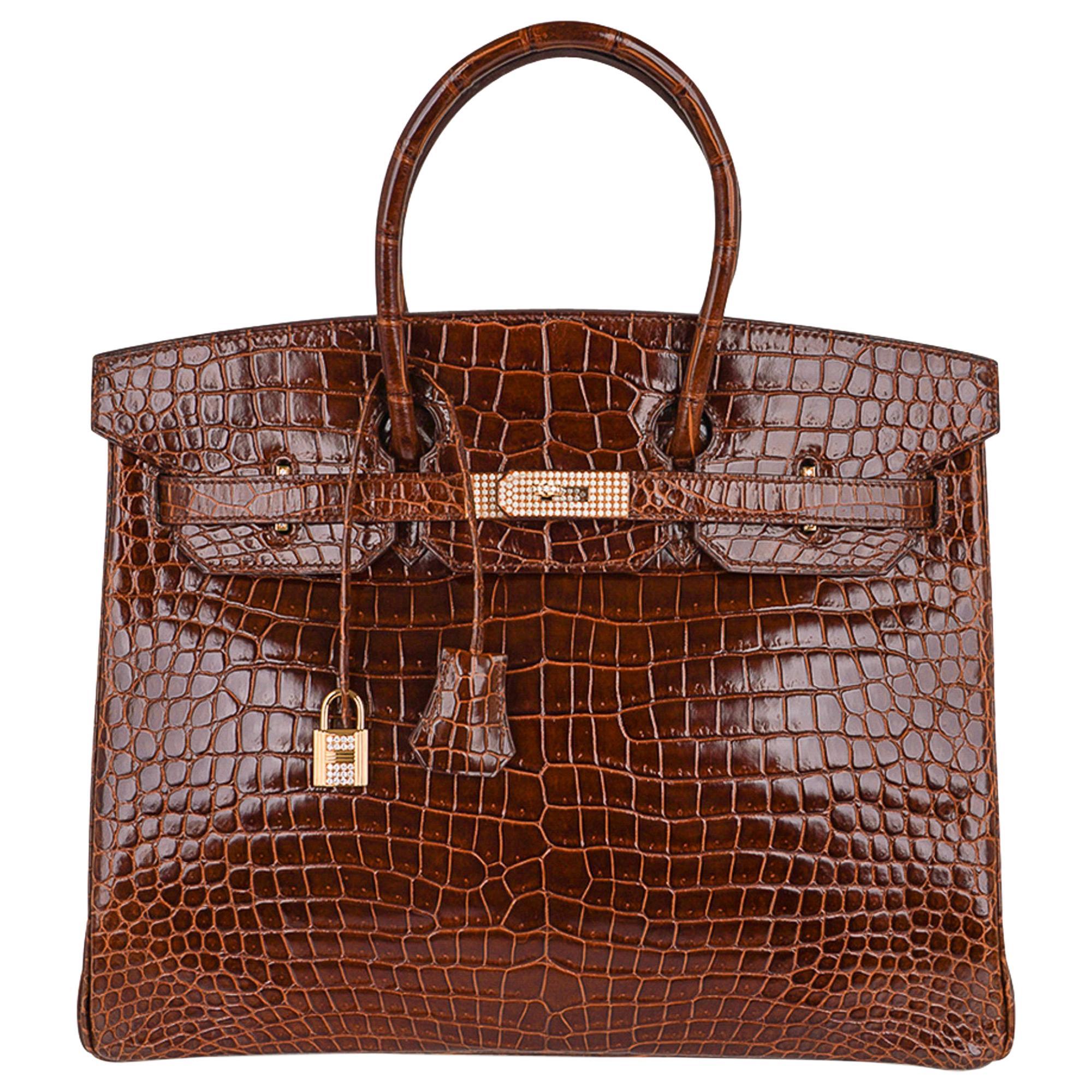 Hermes Birkin 35 Bag Diamond Miel Porosus Crocodile Gold Hardware
