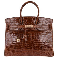 Hermes Birkin 35 Bag Diamond Miel Porosus Crocodile Gold Hardware