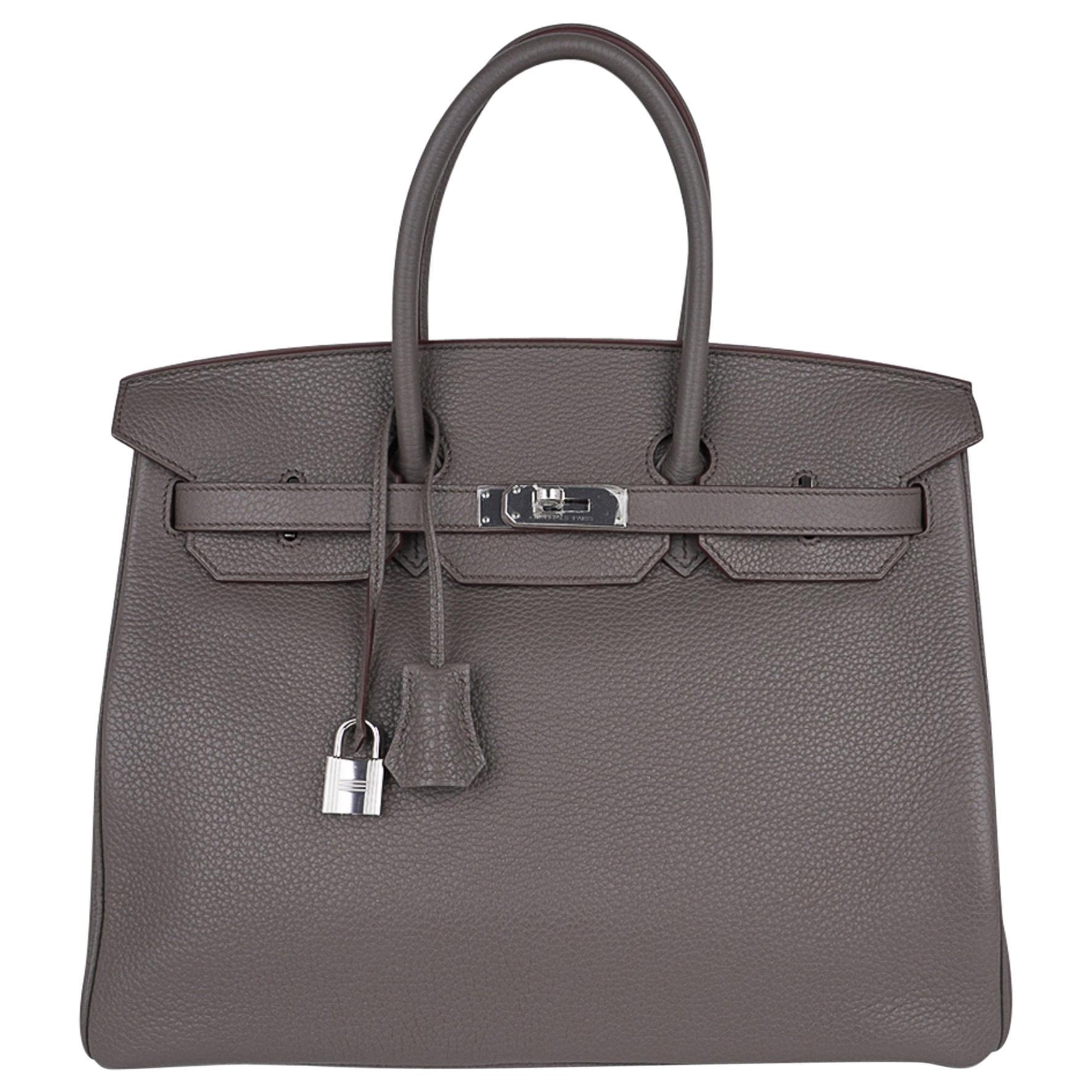 Hermes Birkin 35 Bag Etain Gray Clemence Leather Palladium Hardware