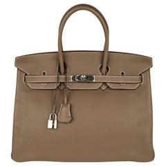 Hermes Birkin 35 Bag Etoupe Clemence Leather Palladium Hardware