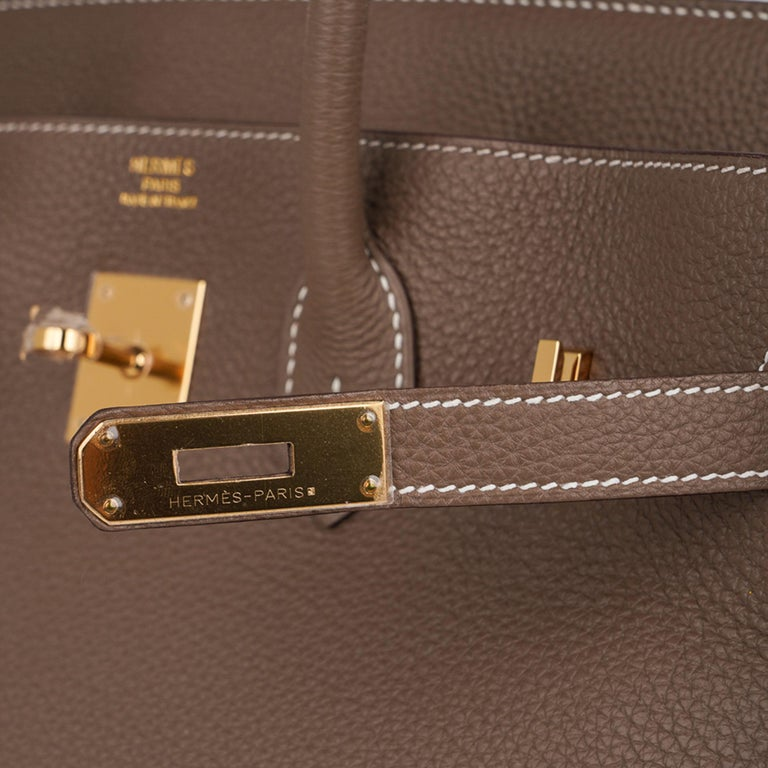 Brown Hermes Birkin 35 Bag Etoupe Gold Hardware Togo Leather Neutral Taupe For Sale