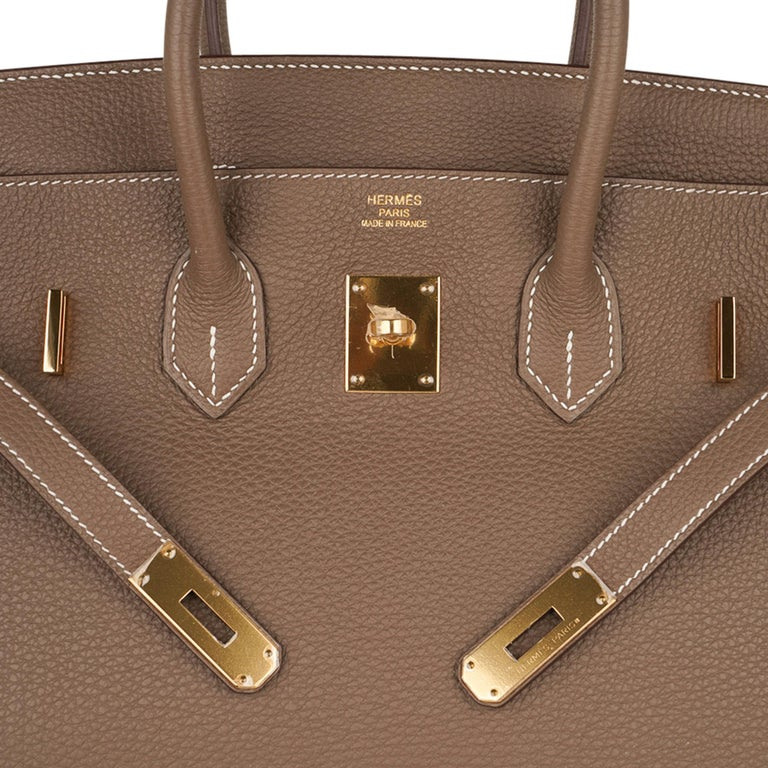 Hermes Birkin 35 Bag Etoupe Gold Hardware Togo Leather Neutral Taupe In New Condition For Sale In Miami, FL