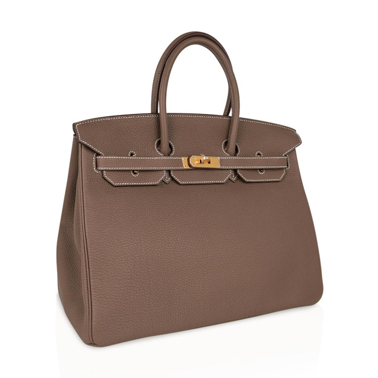 Women's Hermes Birkin 35 Bag Etoupe Gold Hardware Togo Leather Neutral Taupe For Sale