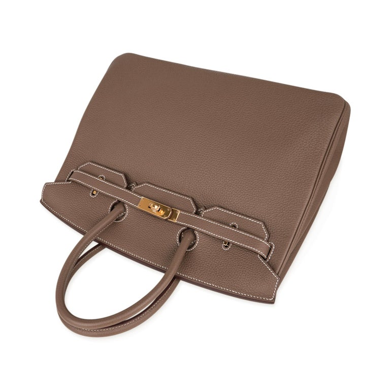 Hermes Birkin 35 Bag Etoupe Gold Hardware Togo Leather Neutral Taupe For Sale 1
