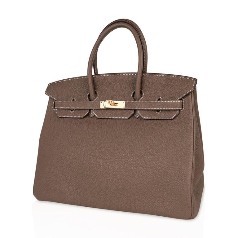 Hermes Birkin 35 Bag Etoupe Gold Hardware Togo Leather Neutral Taupe For Sale 2