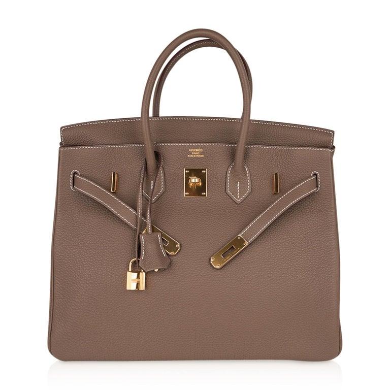 Hermes Birkin 35 Bag Etoupe Gold Hardware Togo Leather Neutral Taupe For Sale 3