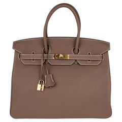 Hermes Birkin 35 Bag Etoupe Gold Hardware Togo Leather Neutral Taupe