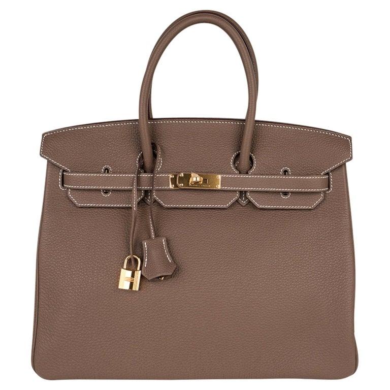 Hermes Birkin 35 Bag Etoupe Gold Hardware Togo Leather Neutral Taupe For Sale