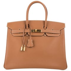49e5bde30a60 Hermes Birkin 35 Bag Gold Epsom Leather Gold Hardware