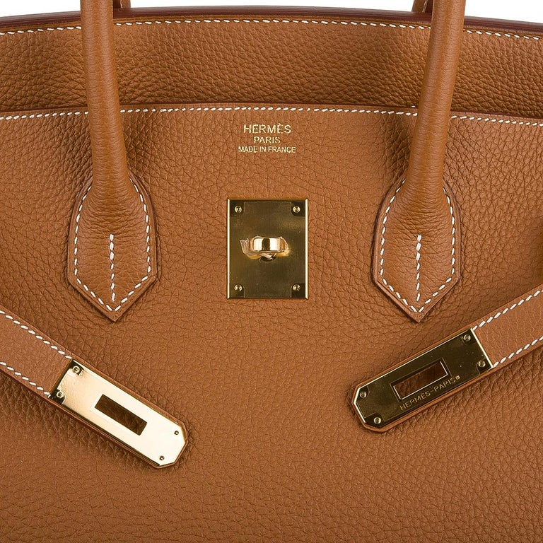 Brown Hermes Birkin 35 Bag Gold Togo Gold Hardware Iconic Classic For Sale