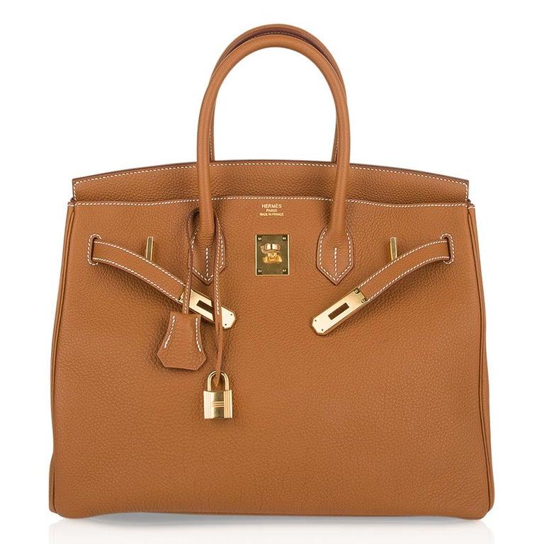 Hermes Birkin 35 Bag Gold Togo Gold Hardware Iconic Classic For Sale 2