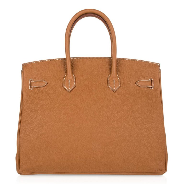Hermes Birkin 35 Bag Gold Togo Gold Hardware Iconic Classic For Sale 3