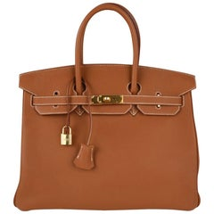Hermes Birkin 35 Bag Gold Togo Gold Hardware Iconic CLassic