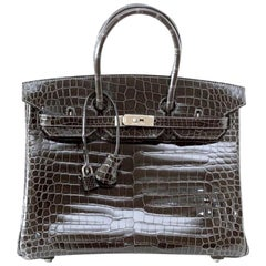 Hermes Birkin 35 Bag Graphite Gray Porosus Crocodile Palladium Hardware Rare