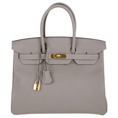 Hermes Birkin 35 Bag Gris Asphalte Gold Hardware Togo Leather