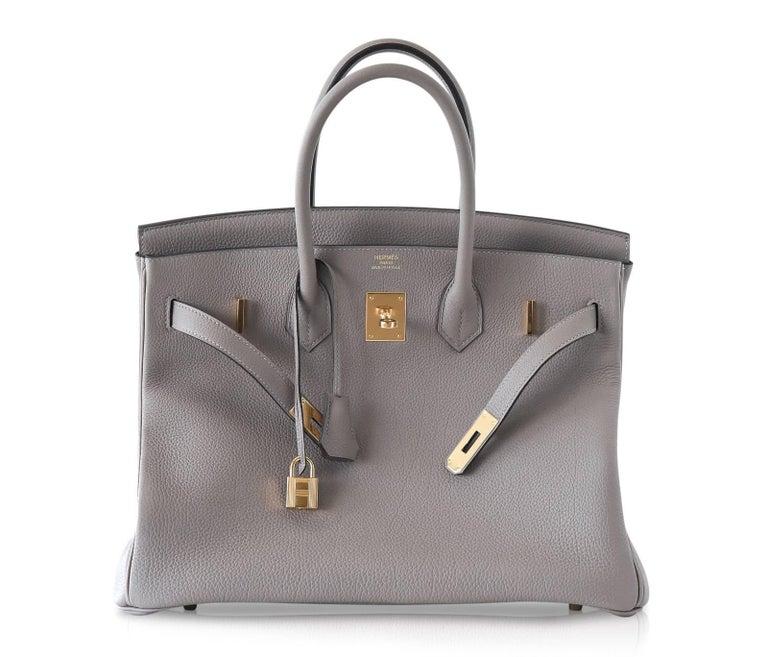 Women's Hermes Birkin 35 Bag Gris Asphalte Togo Gold Hardware For Sale