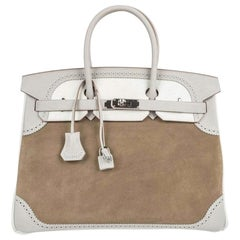 Hermes Birkin 35 Bag Grizzly Ghillies Gris Perle Gris Caillou PHW
