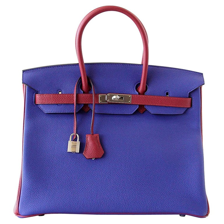 Hermes Birkin 35 Bag HSS Electric Blue Rouge Grenat Togo Leather Palladium For Sale