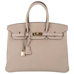 Hermes Birkin 35 Bag HSS Gris Tourterelle Rare Tri Colour Gold Hardware
