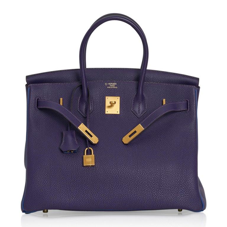 Hermes Birkin 35 Bag HSS Iris / Electric Blue Togo Brushed Gold Hardware New w/B For Sale 5