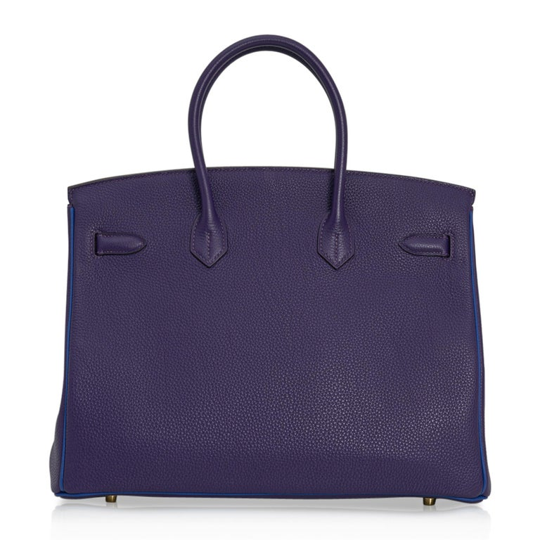 Hermes Birkin 35 Bag HSS Iris / Electric Blue Togo Brushed Gold Hardware New w/B For Sale 6