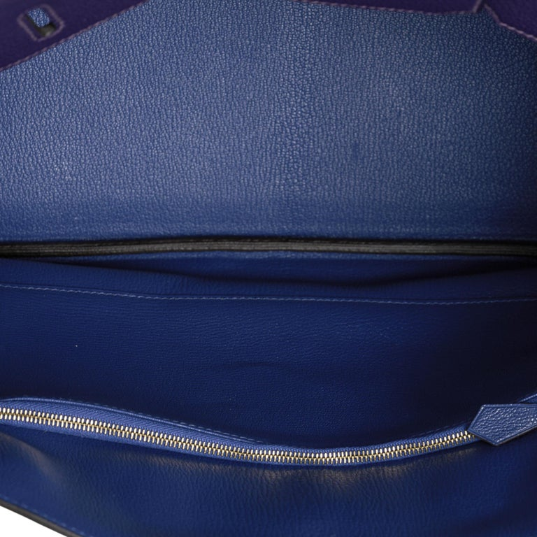 Hermes Birkin 35 Bag HSS Iris / Electric Blue Togo Brushed Gold Hardware New w/B For Sale 7