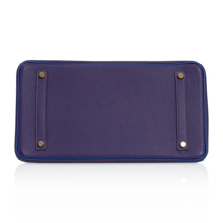 Hermes Birkin 35 Bag HSS Iris / Electric Blue Togo Brushed Gold Hardware New w/B For Sale 9