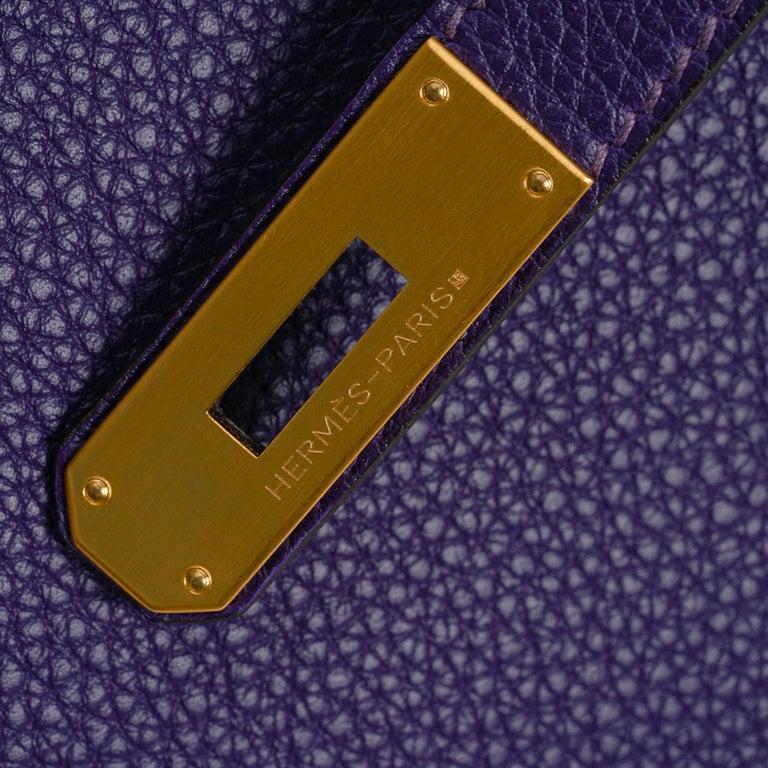 Black Hermes Birkin 35 Bag HSS Iris / Electric Blue Togo Brushed Gold Hardware New w/B For Sale