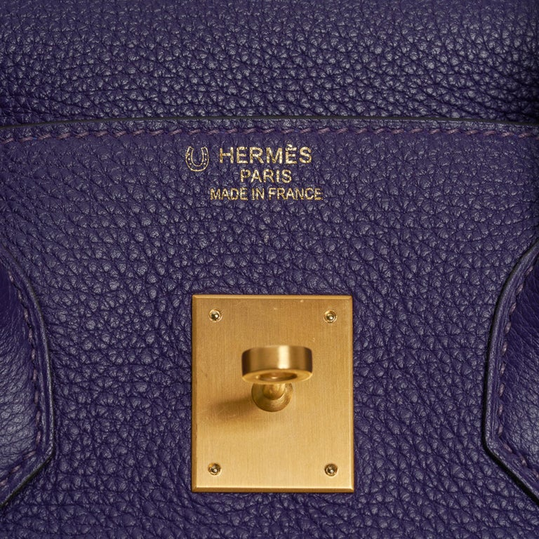 Hermes Birkin 35 Bag HSS Iris / Electric Blue Togo Brushed Gold Hardware New w/B In New Condition For Sale In Miami, FL