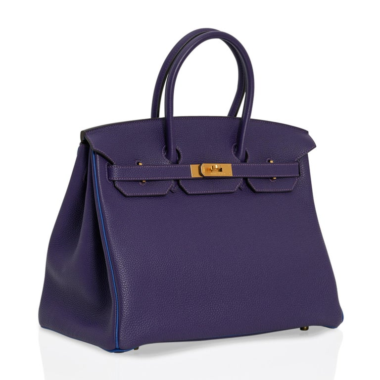 Women's Hermes Birkin 35 Bag HSS Iris / Electric Blue Togo Brushed Gold Hardware New w/B For Sale