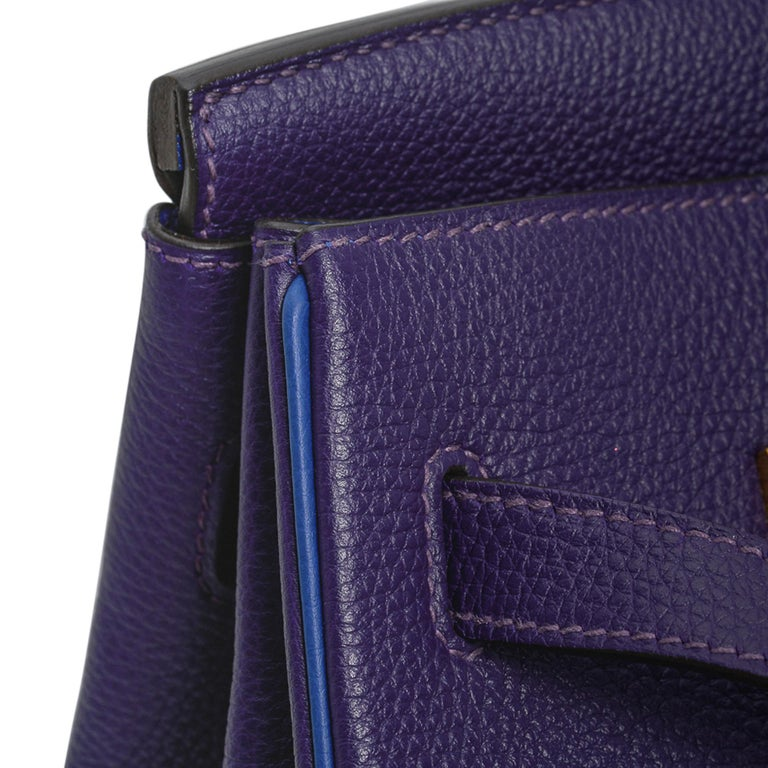 Hermes Birkin 35 Bag HSS Iris / Electric Blue Togo Brushed Gold Hardware New w/B For Sale 2
